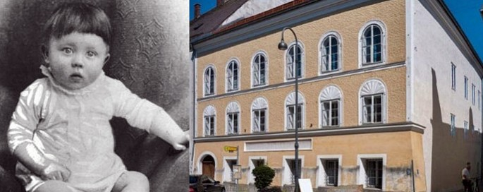 the-baby-adolf-hitler-and-the-house-in-austria-where-he-was-born-in-1899