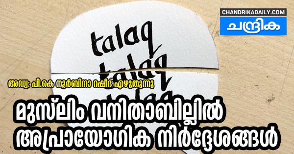 മുസ്ലിം വനിതാബില്ലില്  അപ്രായോഗിക നിര്ദ്ദേശങ്ങള്