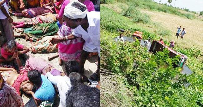 തൊഴിലാളികളുമായ പോയ ട്രാക്ടര് കനാലിലേക്ക് മറിഞ്ഞ് 15 മരണം